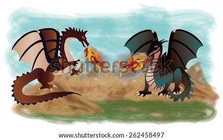 Two fantastic dragons, vector illustration - stock vector