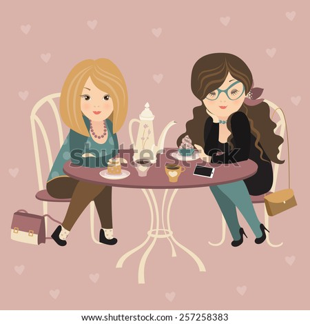 Two fashion girls chatting at a cafe. Vector illustration - stock vector