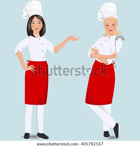 Two female chef in uniform. Vector illustration. Clipart. - stock vector