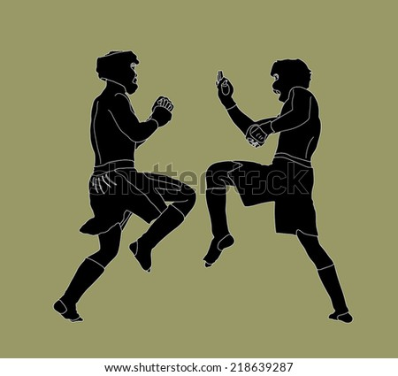 Two fighters in ring vector silhouette illustration. Fight Fighter Muay Thai Boxing Karate Taekwondo Wrestling Kick Punch Grab Throw People Icon Sign Symbol Pictogram. In octagon. - stock vector
