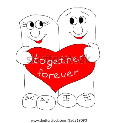 Two figures with heart - stock vector