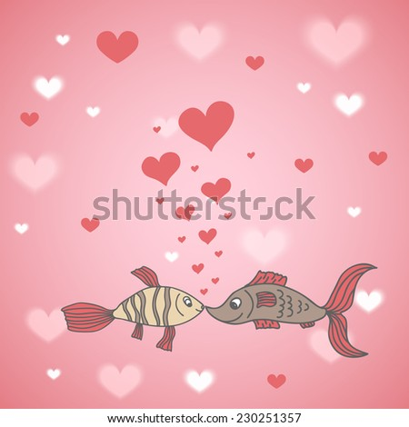 Two fish in love with hearts, greetings card for Valentine's Day - stock vector
