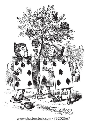 Two, Five and Seven painting the rosebush. A large rose-tree stood near the entrance of the garden: the roses growing on it were white, but there were three gardeners at it, busily painting them red. - stock vector