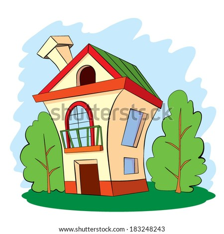 Two-floor comfortable house with a balcony and fire-place pipe, standing on a hill next to two green trees. - stock vector