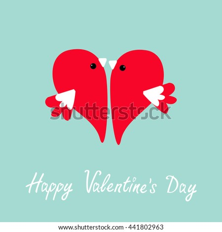 Two flying red birds in shape of half heart. Cute cartoon character. Love card Flat design style. Happy Valentines day. Vector illustration - stock vector