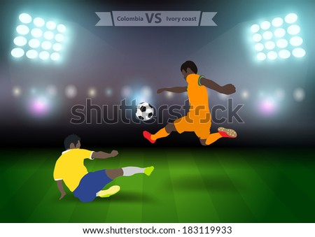 Two football players in jump to strike the ball at the stadium, Soccer players colombia versus ivory coast, Brazil 2014 group C Vector illustration modern design template - stock vector
