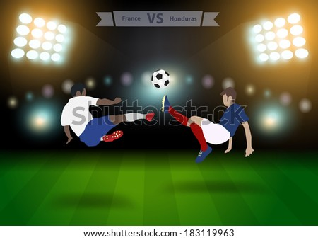 Two football players in jump to strike the ball at the stadium, Soccer players france versus honduras, Brazil 2014 group E Vector illustration modern design template  - stock vector