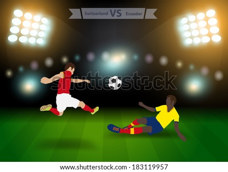 Two football players in jump to strike the ball at the stadium, Soccer players switzerland versus ecuador,, Brazil 2014 group E Vector illustration modern design template - stock vector