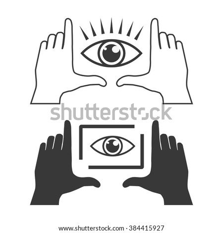 Two frames made from fingers and eyes inside. Horizontal perspective view. Light and dark vector illustrations. - stock vector