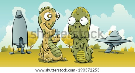 Two friendly cartoon aliens land their spaceships and meet. - stock vector