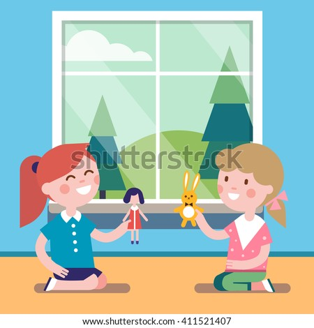 Two friends playing with toy dolls together at the big window. Happy girls characters. Modern flat vector illustration clipart. - stock vector