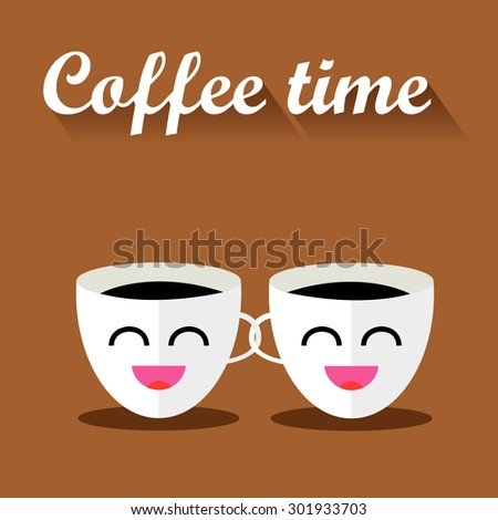 Two funny cups of coffee with inscription. Vector illustration flat design with long shadow.  - stock vector