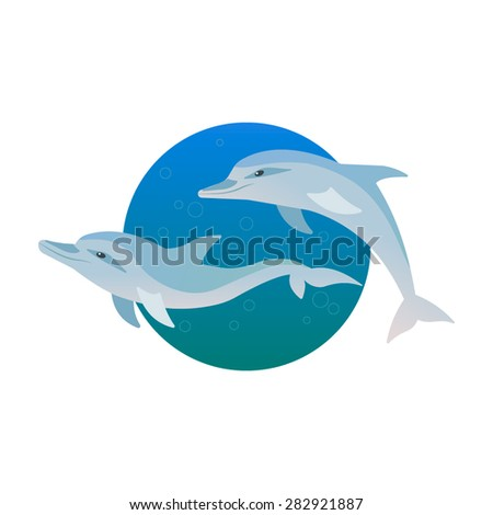 Two funny dolphins vector set - stock vector