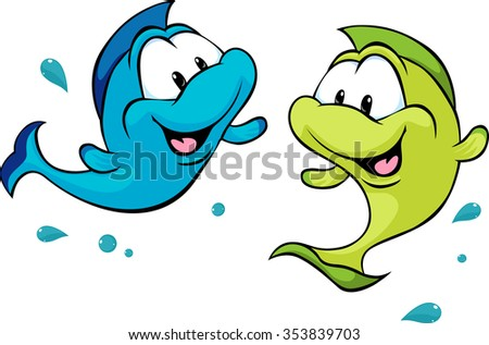 two funny fish isolated on white background - vector illustration - stock vector