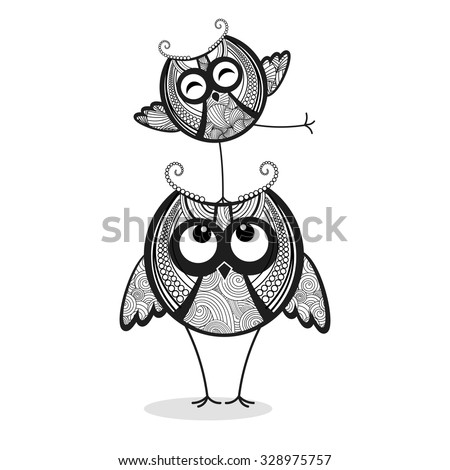 Two funny owls - stock vector