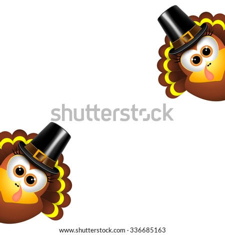 Two funny turkeys on a white background - stock vector