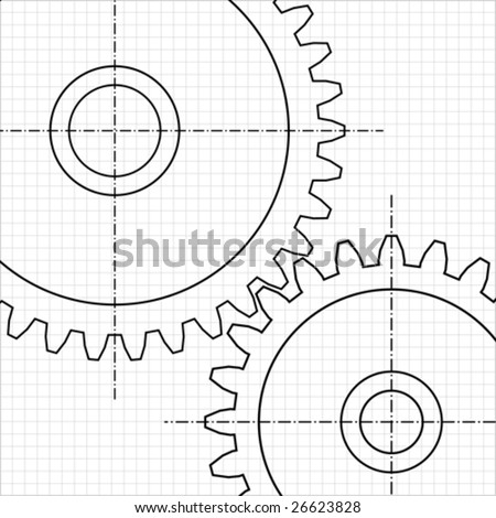 Two gears on white background. Vector image. - stock vector