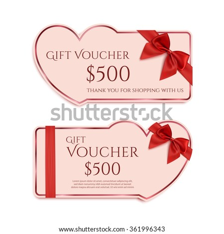 Two gift card template with red ribbon and a bow.  Valentines day banner concept. Vector illustration. - stock vector
