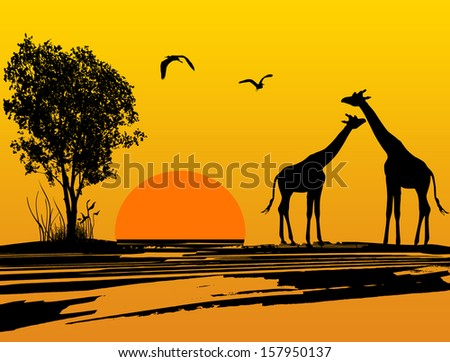 Two giraffes silhouette in africa at  beautiful sunset, vector illustration - stock vector