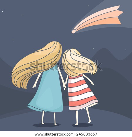 Two girl friends looking at a falling comet in the sky at night. Vector cute cartoon illustration - stock vector