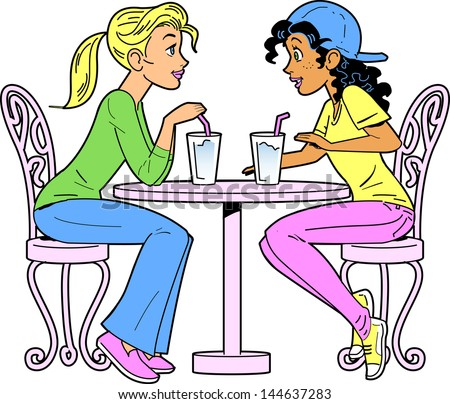 Two Girlfriends at a Bar or Cafe Having a Drink - stock vector