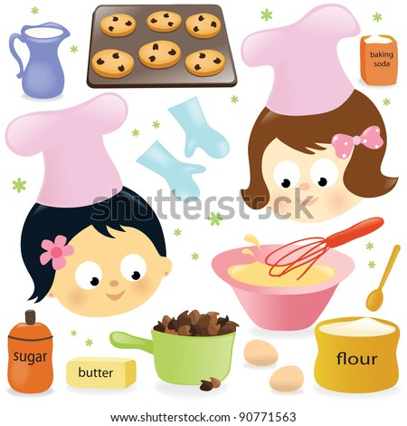 Two girls baking chocolate chip cookies - stock vector