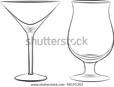 two glass of drink - freehand on a white background, vector illustration - stock vector