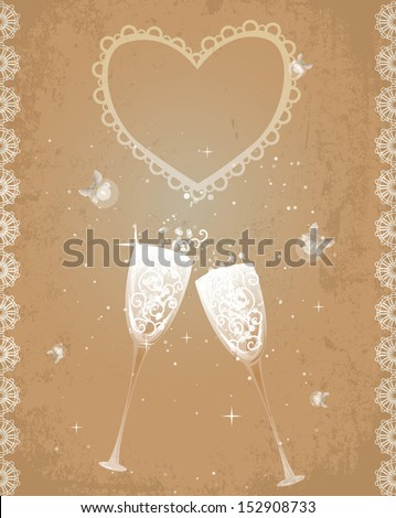 Two glasses of champagne, sparkling and shining. Retro style, fireflies as symbol of happiness and romance. EPS10 - stock vector