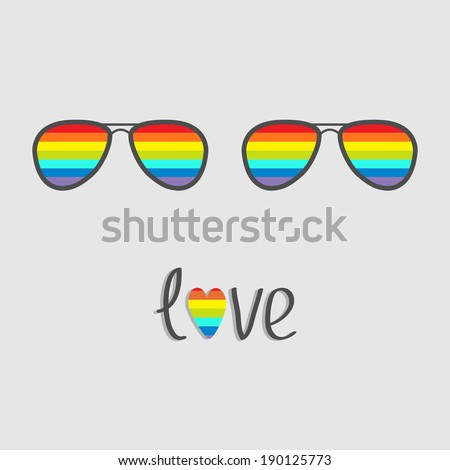 Two glasses with rainbow lenses. Word love with rainbow heart. Isolated. Vector illustration. - stock vector