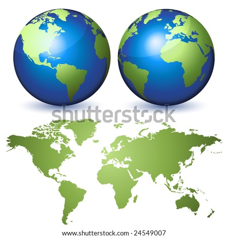 Two globes representing the Earth and a planisphere - stock vector