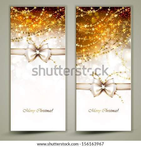 Two gold Christmas greeting cards with bow.  - stock vector