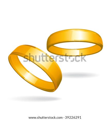 Two gold rings. Vector illustration. - stock vector