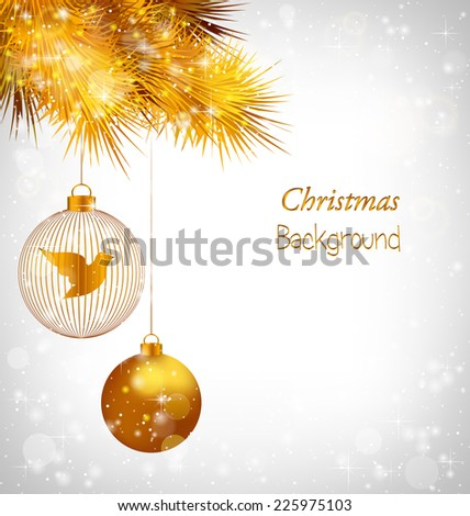 Two golden balls with bird and golden pine branches in snowfall on grayscale background - stock vector