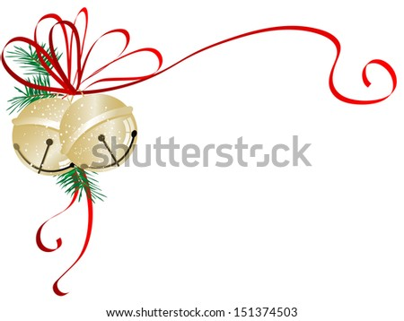 Two golden jingle bells with red ribbon - stock vector