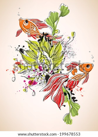 Two goldfish with underwater flowers eps10 - stock vector
