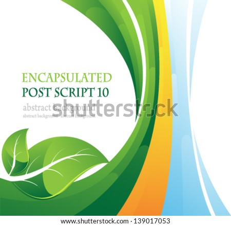 Two green leaves on abstract striped background. Conceptual background. - stock vector
