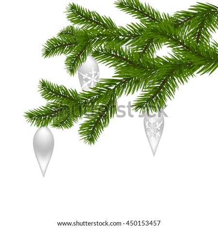 Two green, realistic, with New Year's toys, spruce branches. Christmas Spruce branches. Isolated on white background. Christmas vector illustration - stock vector