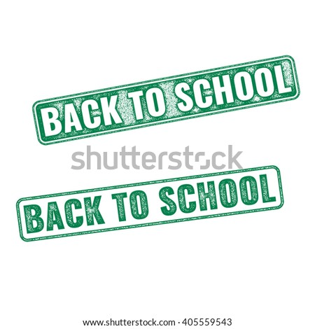 Two green textured stamps Back to School. Vector realistic Back to School imprints isolated on white background - stock vector