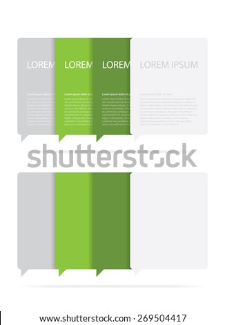 Two groups of green and gray text boxes. One with sample text on it, and one blank. - stock vector