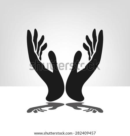 two hands - stock vector