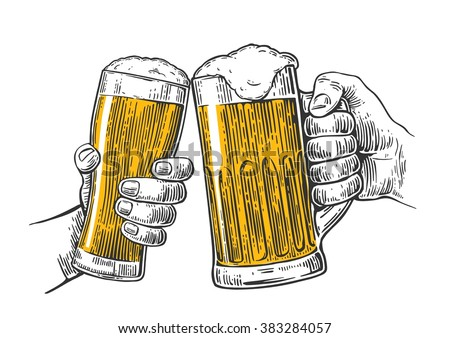 Two hands holding and clinking with beer glasses mug. Vintage vector engraving illustration for web, poster, invitation to party. Isolated on white background. - stock vector