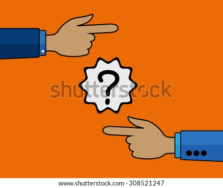 Two Hands Pointing In Different Directions. - stock vector