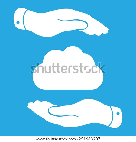 two hands showing cloud computing icon - stock vector