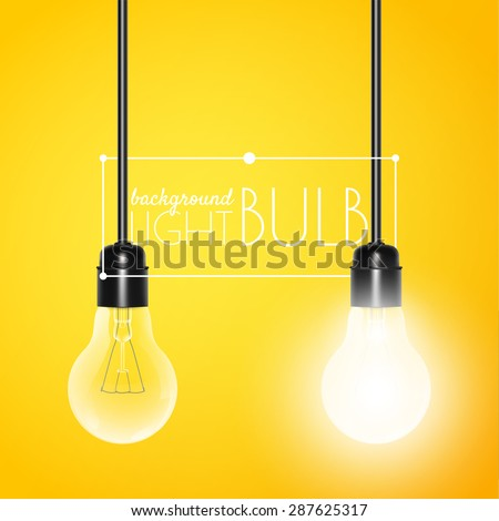 Two hanging light bulbs: glowing and turned off on a yellow background with copy space. Vector illustration for your design - stock vector