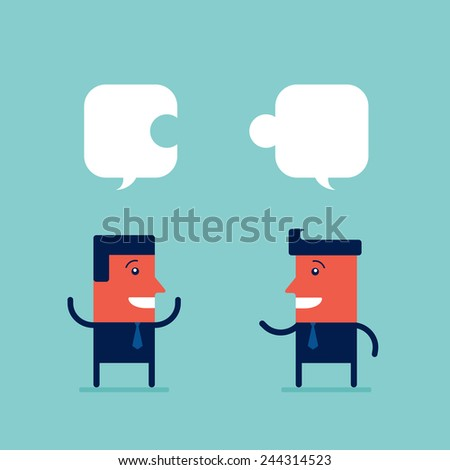 Two happy businessman discuss their work and collecting a puzzle Partnership successful business concept - stock vector