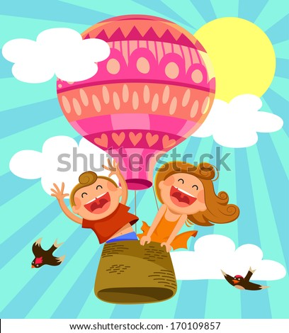 two happy kids flying in a hot air balloon - stock vector