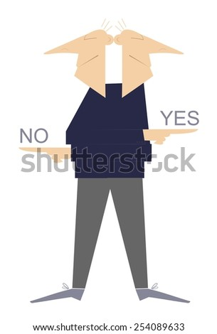 Two heads man shows by fingers different ways - stock vector