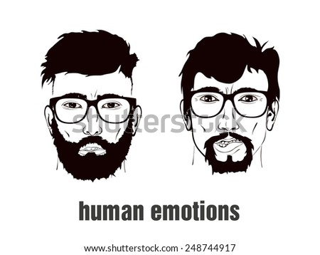 two heads with emotion on her face - stock vector