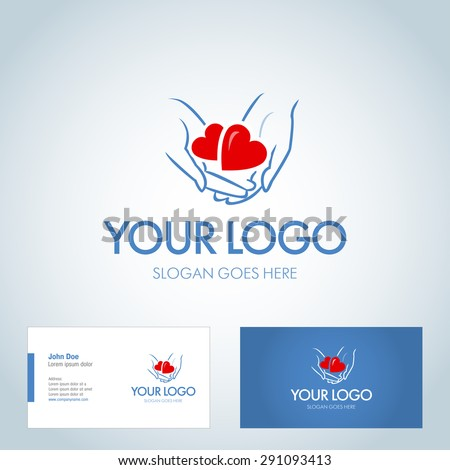 Two hearts in hands. Logotype design. Medical logo design template with business card design. Vector illustration. - stock vector