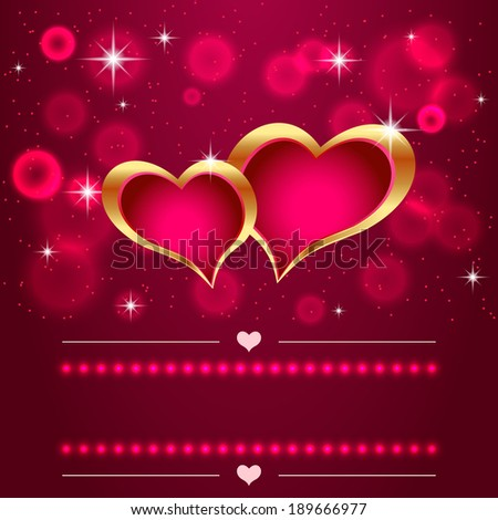 Two hearts on the background with flares - stock vector
